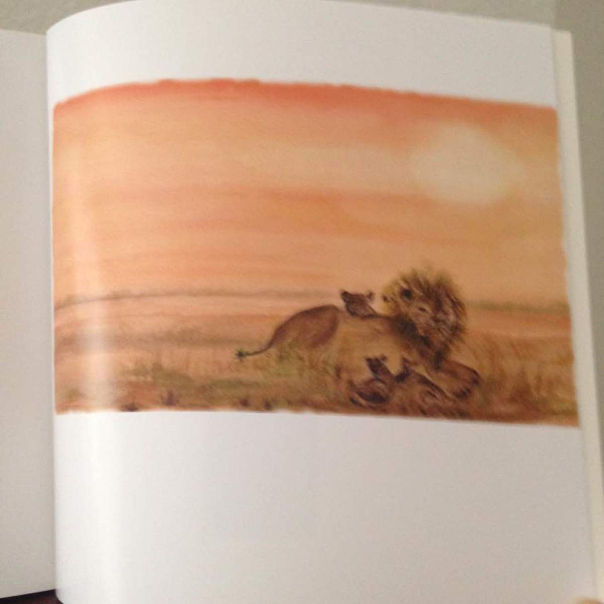 Pastel Illustration of African Lions