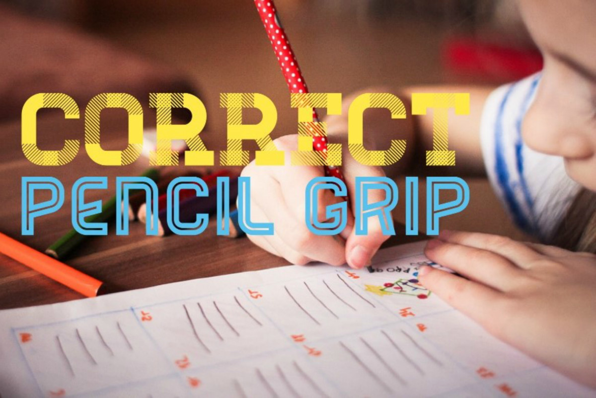 Help your child by showing him the correct pencil grip.