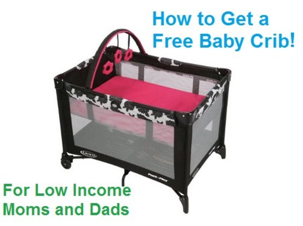 Give baby a safe place to sleep! This image shows a Graco Pack n' Play portable crib, which is what most agencies provide.