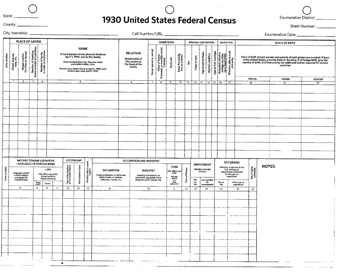This shows the form for the 1930 census