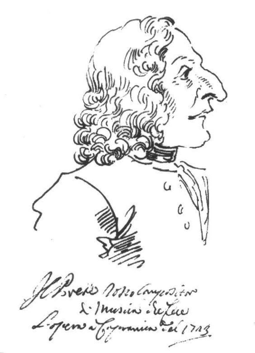 Caricature of Vivaldi by Pier Leone Ghezzi