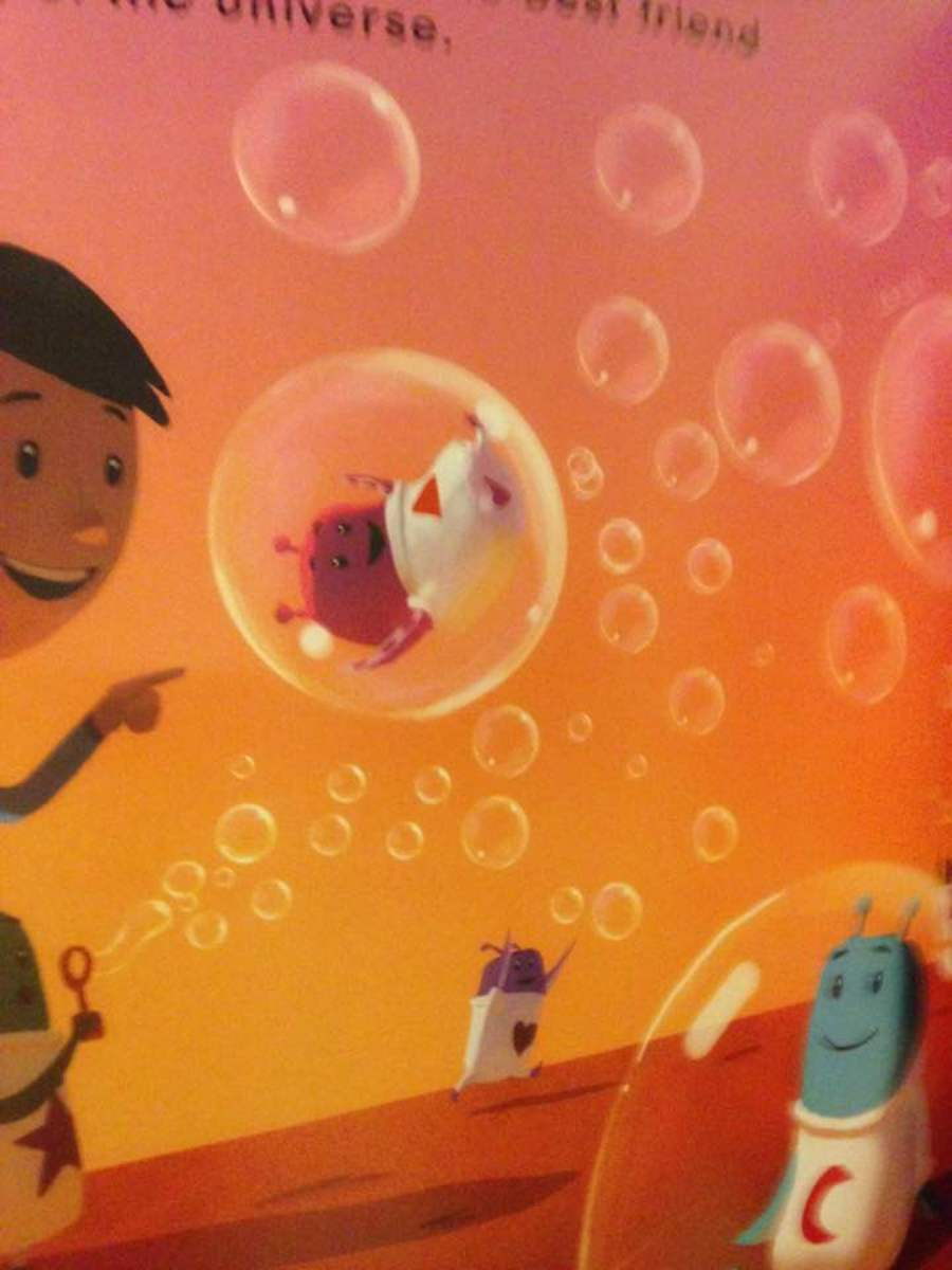 Participating with friends with common interests.  the little boy and his new friends like bubble blowing.
