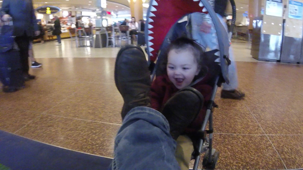Strollers can also second as great foot rests.