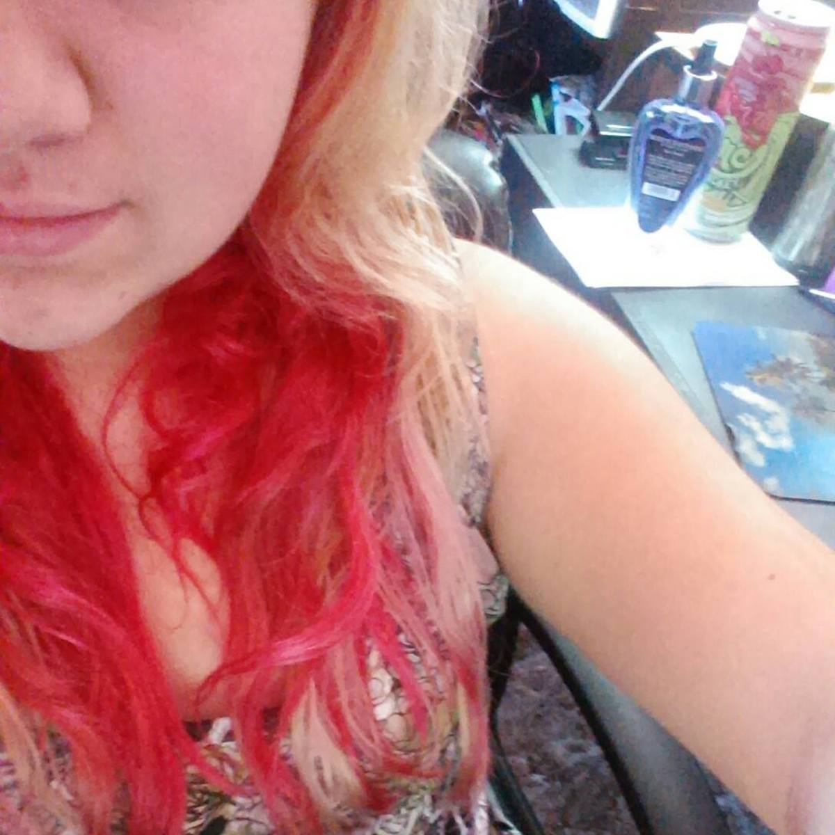 Bleached and red hair. Surprise!