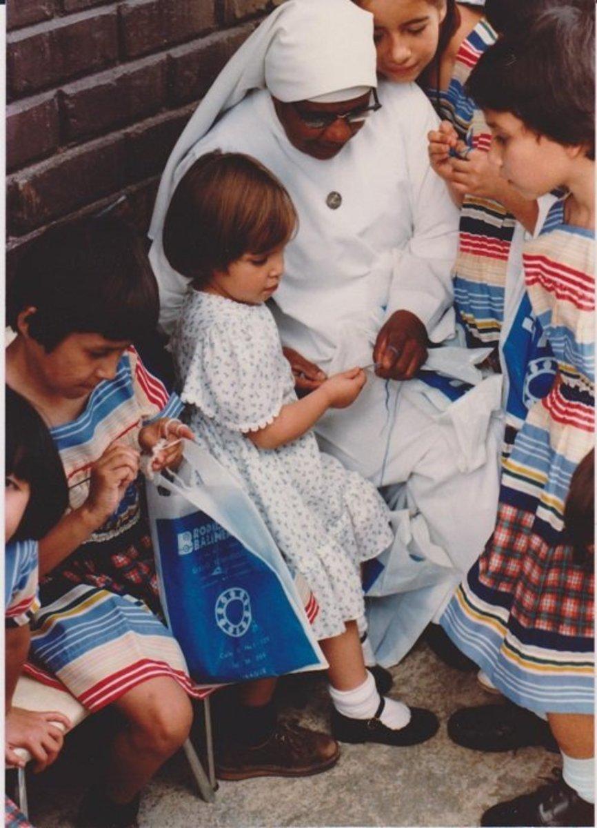 Elizabeth Visiting Orphanage El Sagrado Corazon in Ibague, Tolima , Colombia 1982