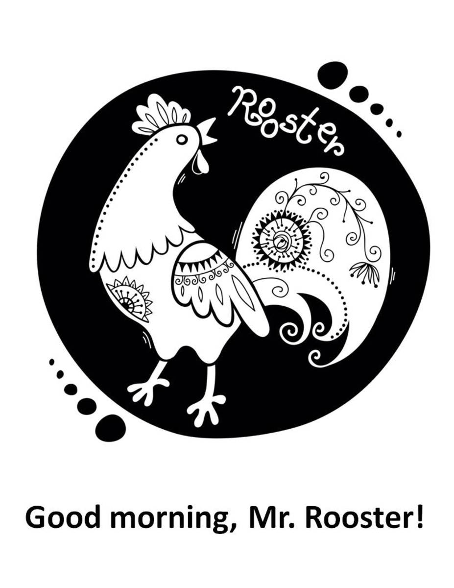 Coloring page with embroidery-style rooster
