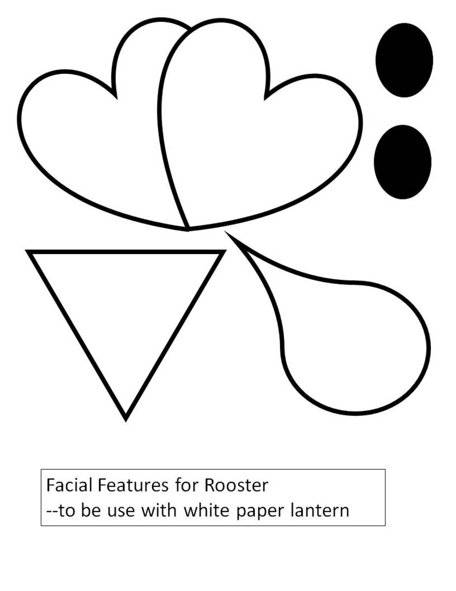 Template to color -- rooster facial features to be use with white paper lantern