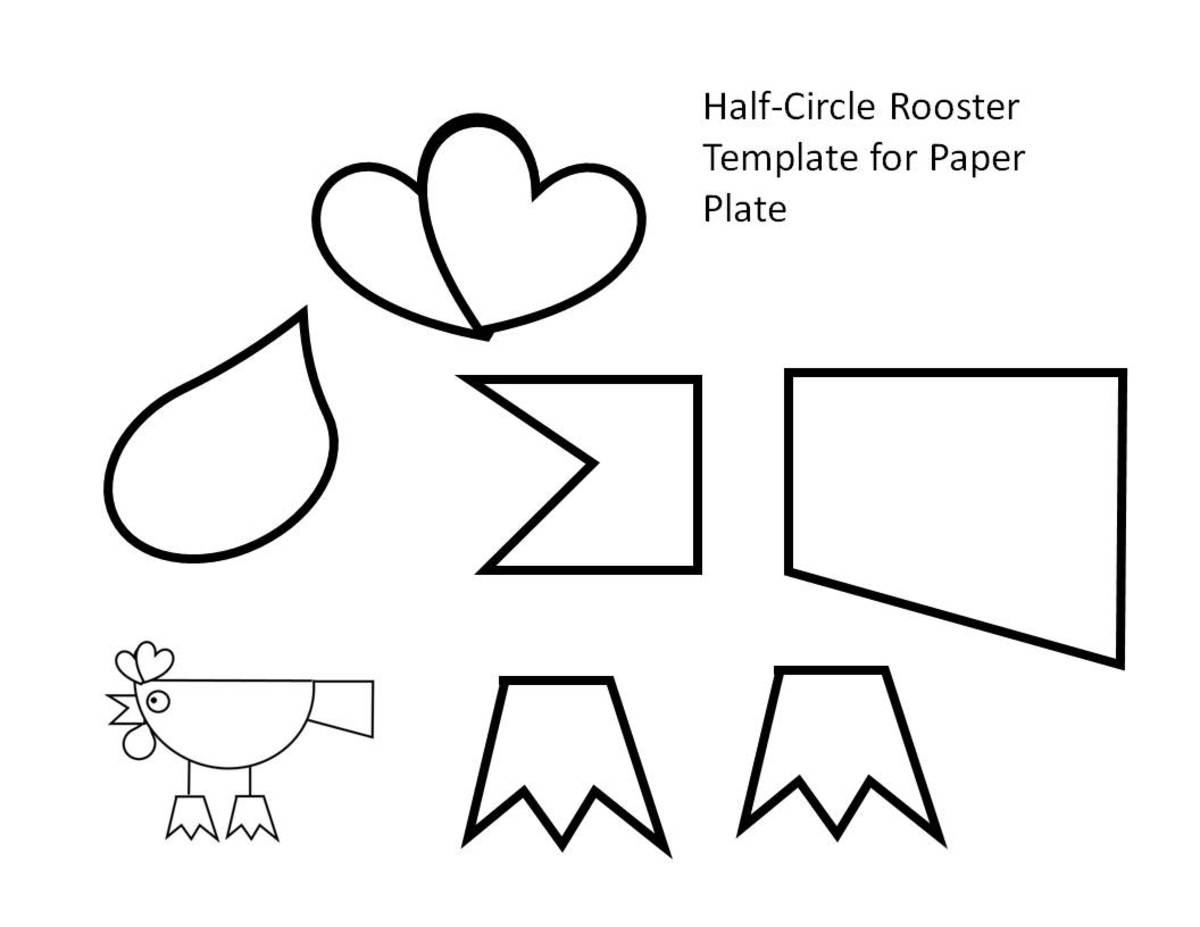This rooster pattern is designed to be used with a paper plate.