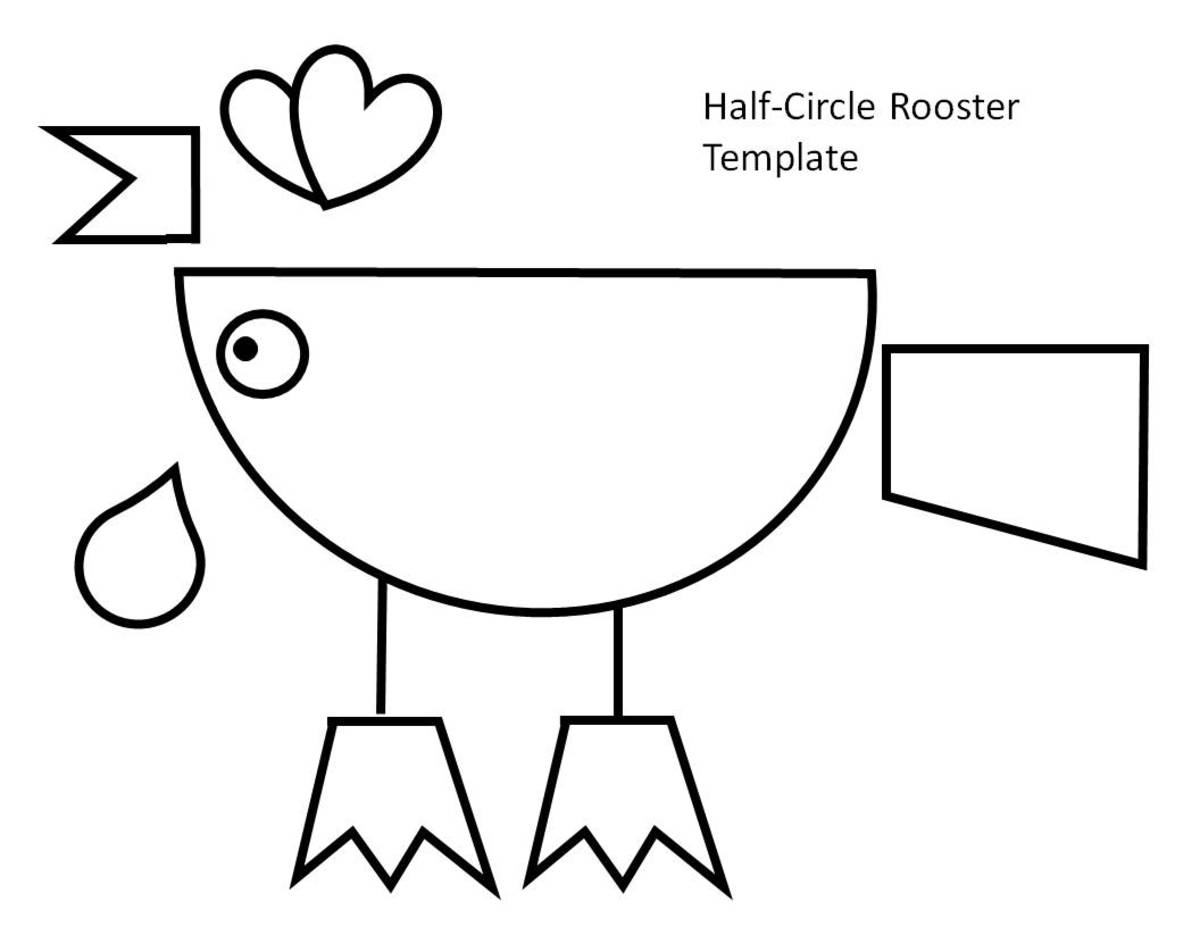 Half-circle rooster template to color, cut, and assemble.