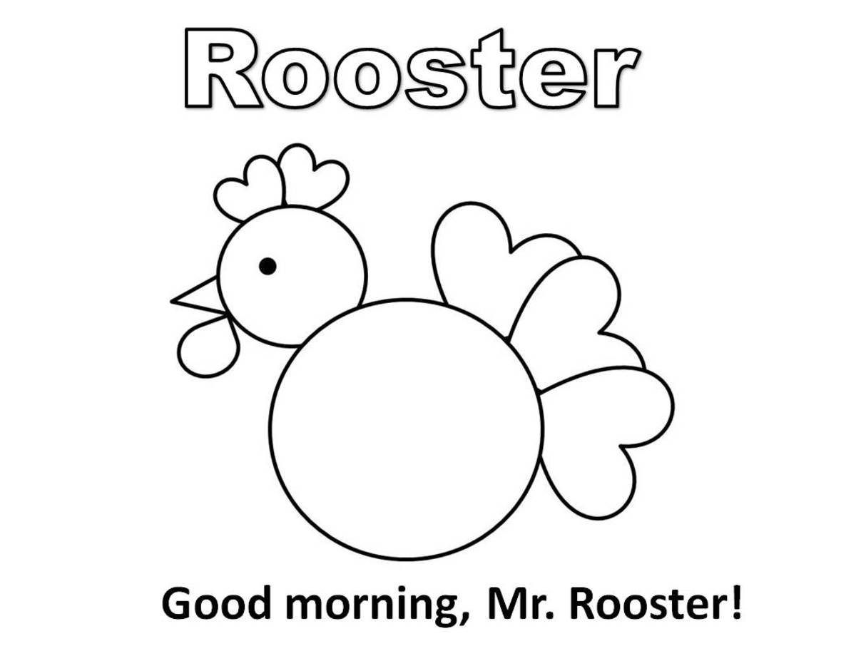 Coloring page for rooster made of circles, hearts, and triangle