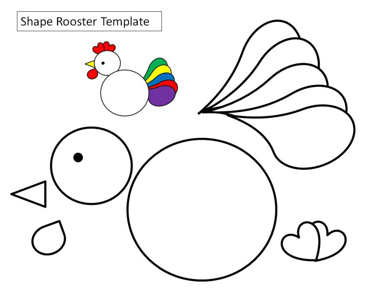 Circle, heart, and teardrop rooster template. I've left the tail piece in one piece so that it is easier to color.