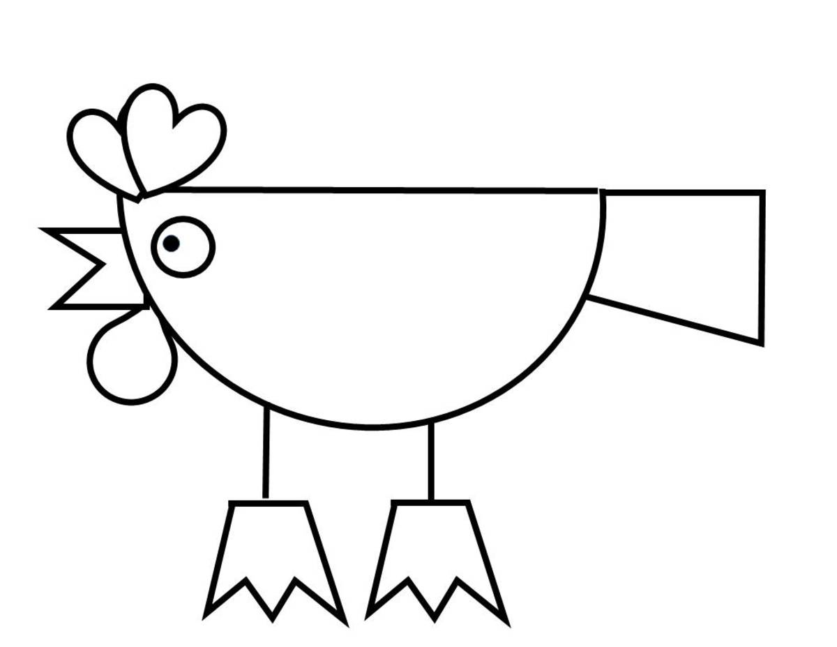 Rooster using half-circle, heart, and triangle shapes.
