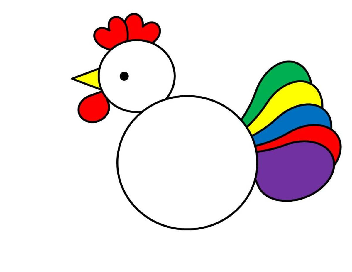 Rooster made with circles, hearts, triangle, and teardrop shapes.