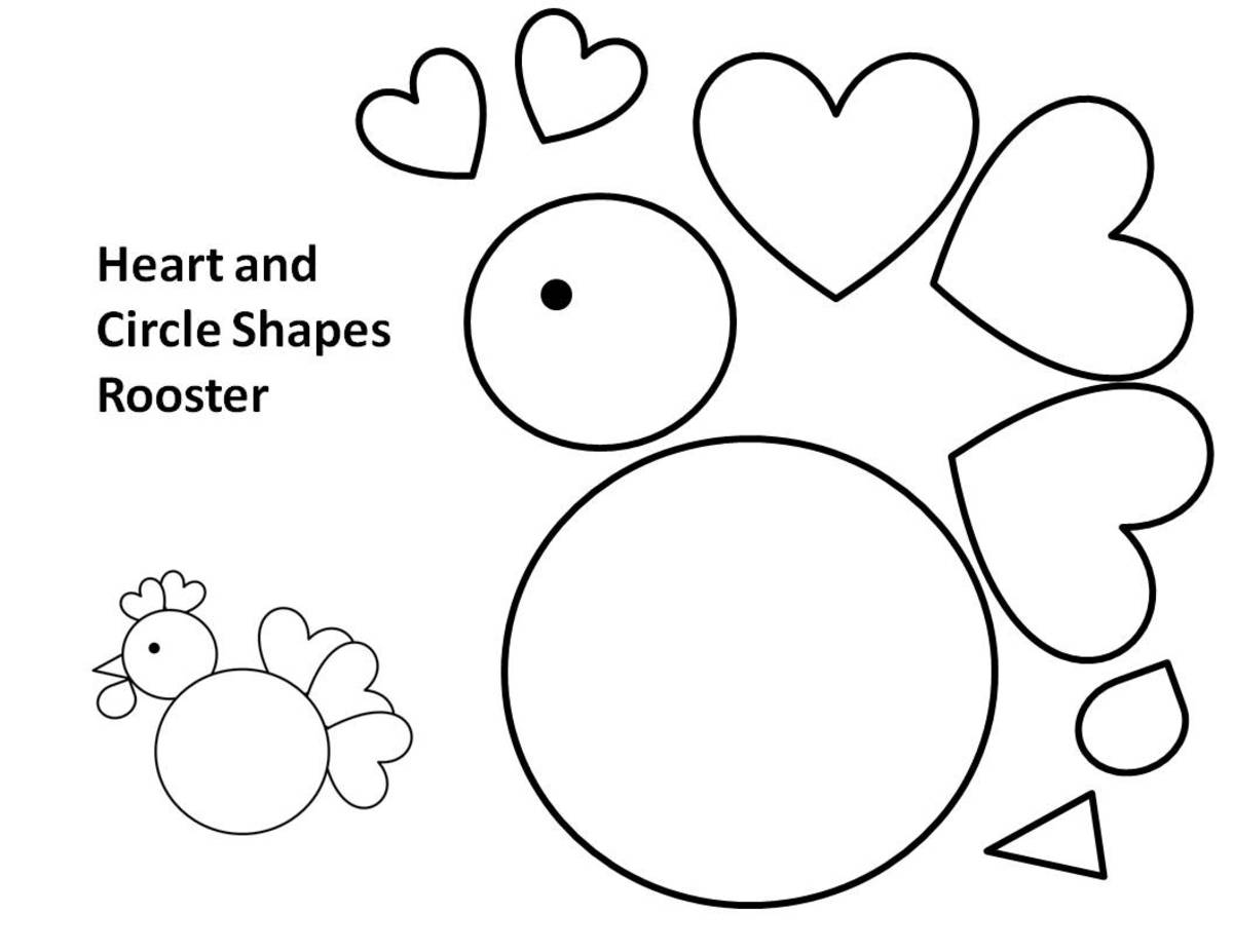 Printable template for rooster made from circles, hearts, and triangle. You can cut the shapes from colored paper or felt.