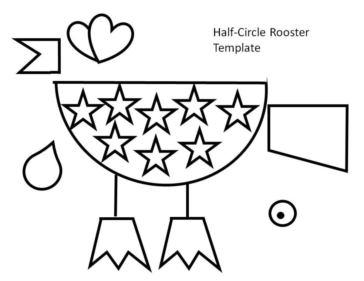 Half-circle rooster with stars