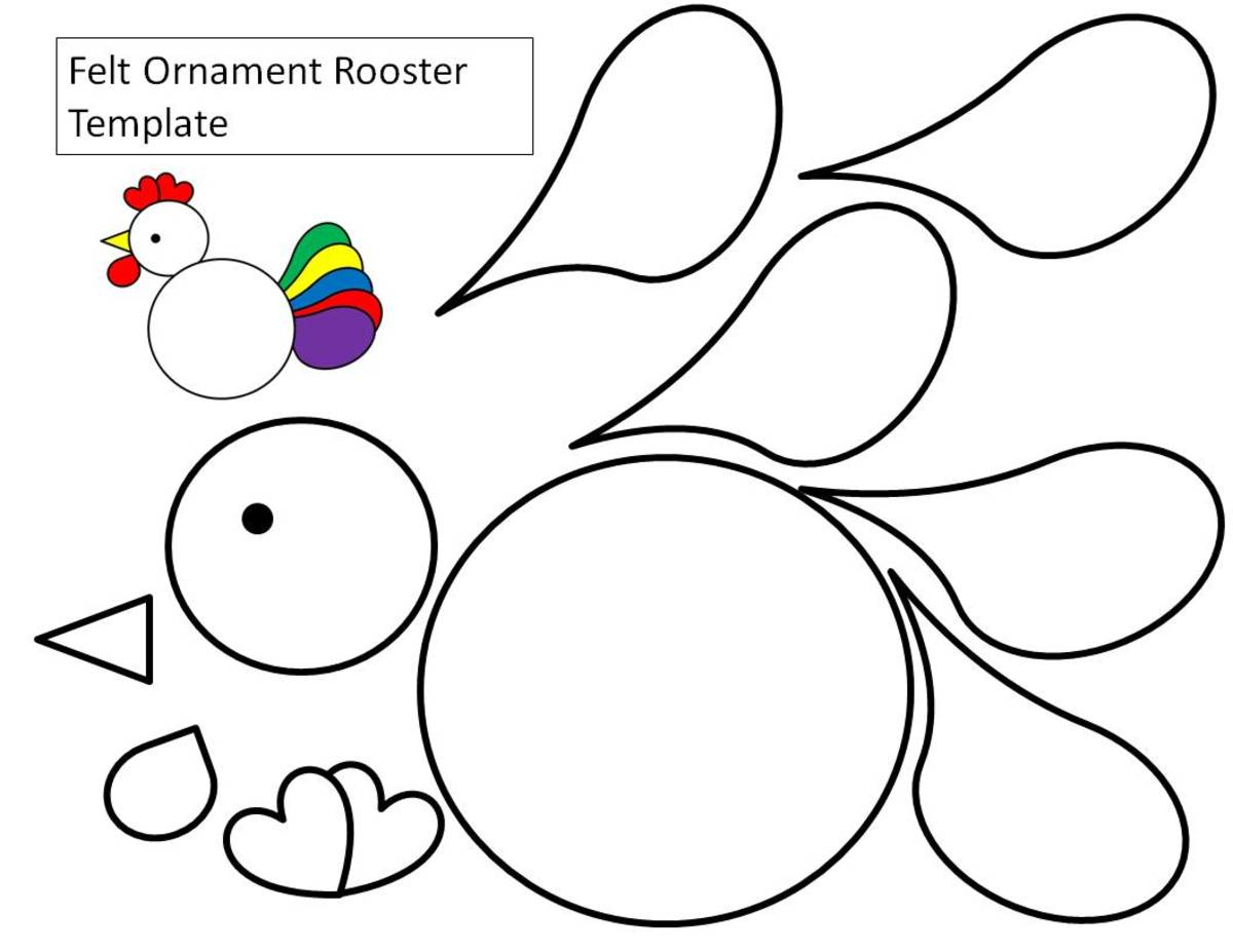 Here is the circles and teardrop rooster template. I've put all the tail feathers separate so that you can cut each out of a different color piece of paper or felt.