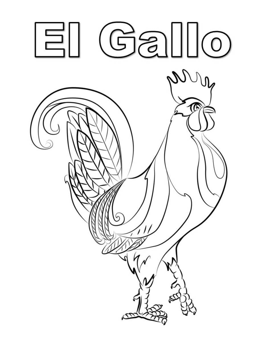 Dibujo para colorear: el gallo  Coloring page in Spanish