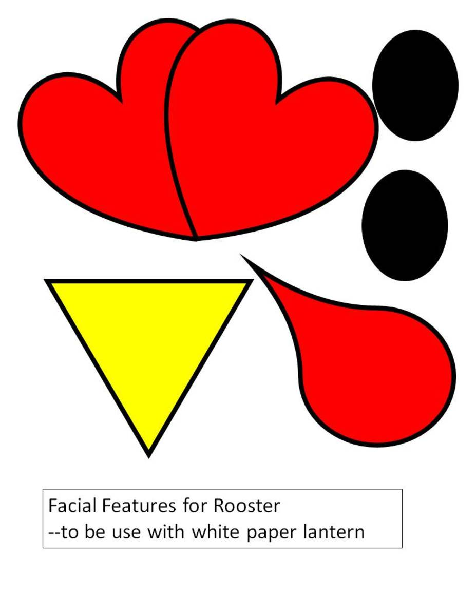 Template for facial features to make a rooster from a white paper lantern