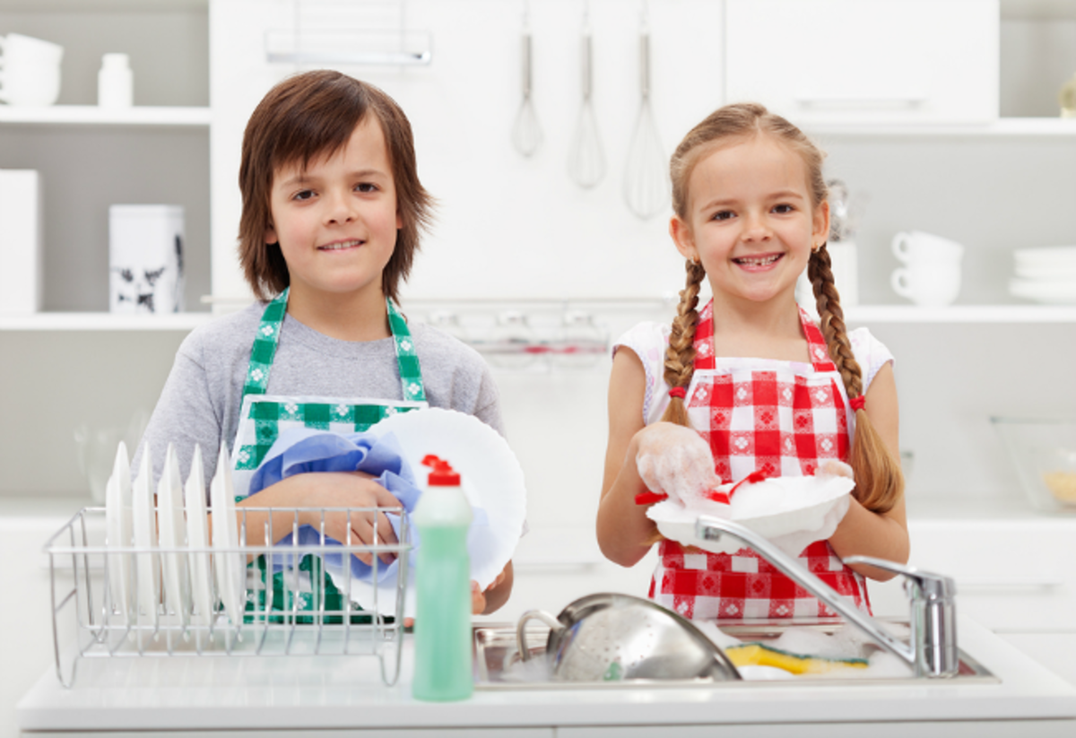 Wouldn't it be great if your kids actually looked this happy when they were doing their chores?