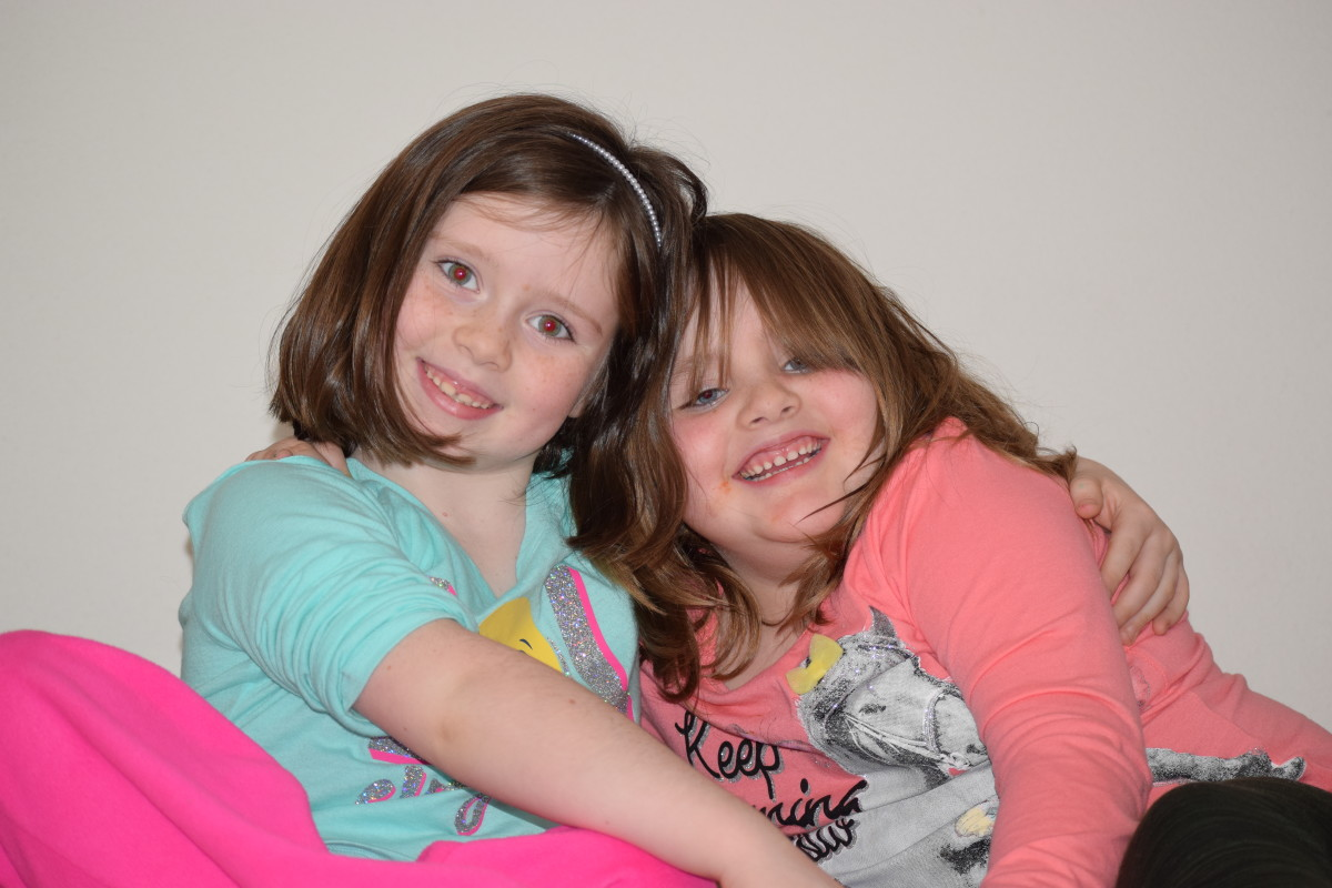 Two of the granddaughters. The one on left now lives with Mammaw.
