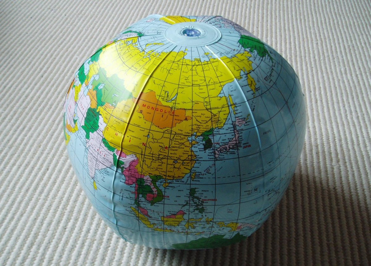 Globes don't need to be fancy. We have an inflatable globe like this one, and it has inspired a lot of educational games.