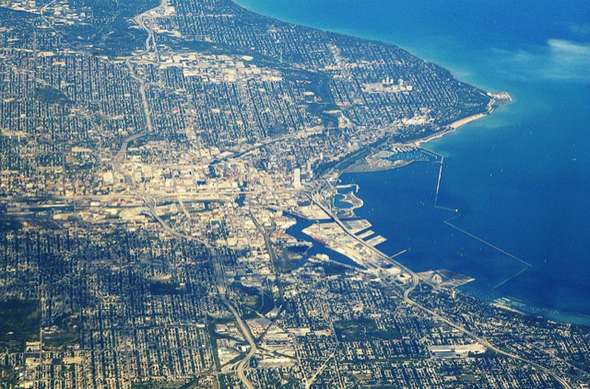 An aerial view of Milwaukee, Wisconsin, where we live.