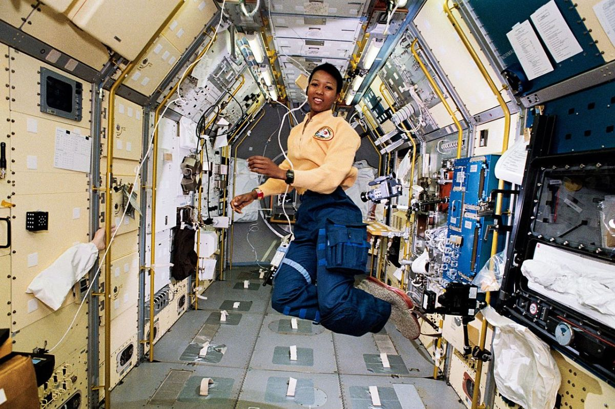 Mae Jemison on board the Spacelab Japan science module, on the Earth-orbiting Endeavor space shuttle.
