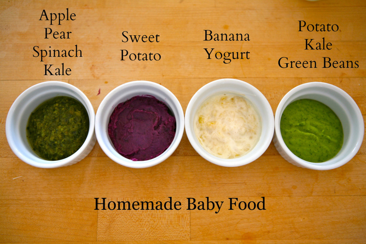 Four popular types of homemade baby food.