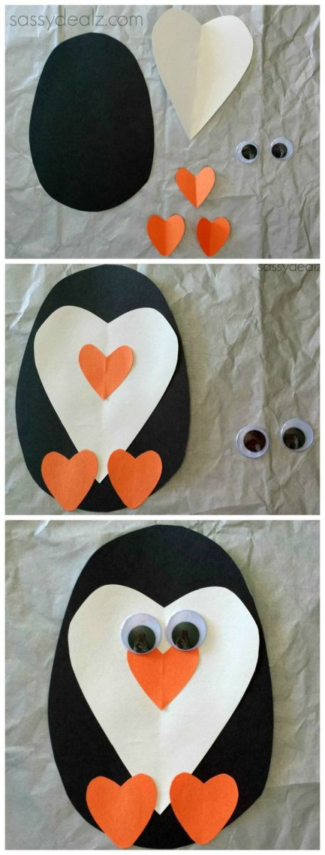 All you need is some colored paper and a pair of googly eyes...and some glue...to make this super easy and cheap kid's craft for Penguin Day