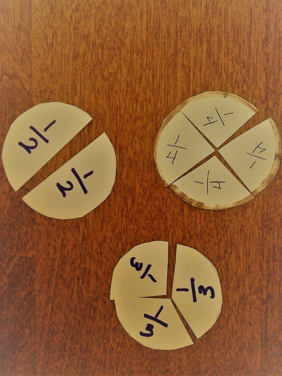 Circles cut into equal parts to learn fractions