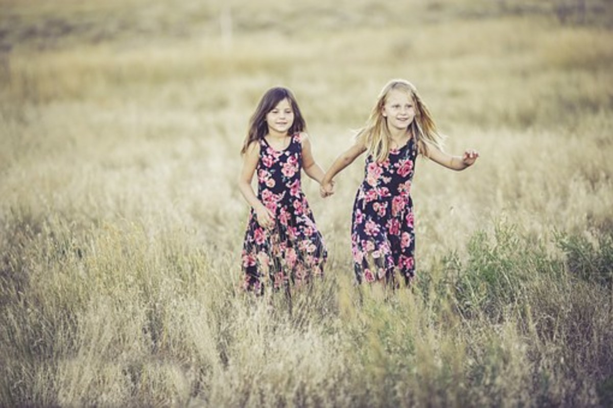 Playing in a field at a sleepover.