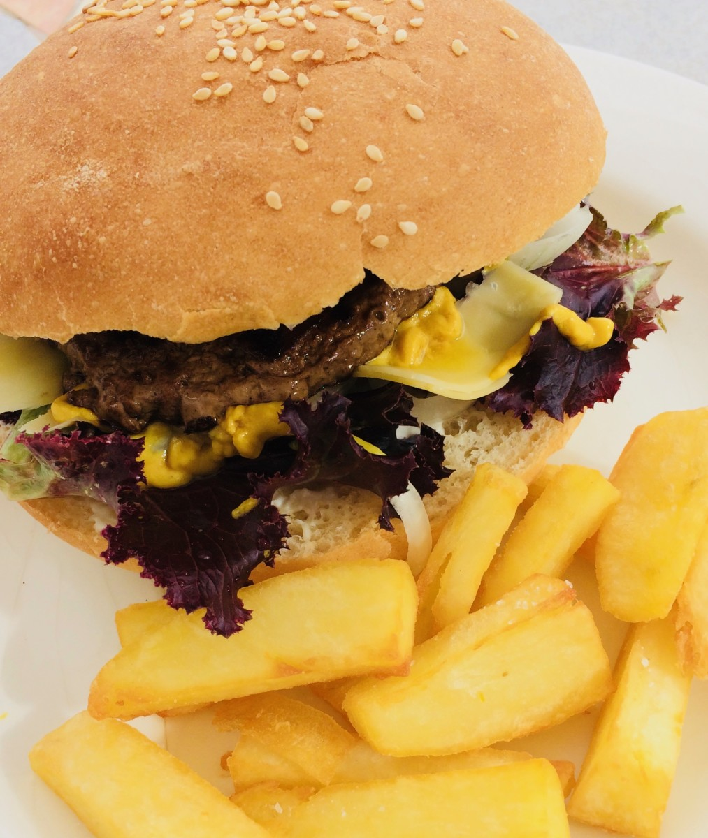 My Favourite homemade beef-burger: I make loads and freeze for ease!