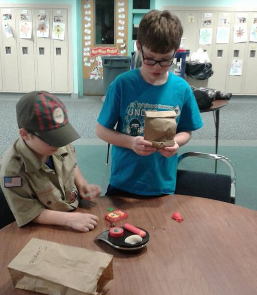 If small boxes are difficult to find, brown paper bags may also be used to conceal items for the Scientific Method game. Paper bags allow students to use their sense of touch, which may make guessing the objects easier.