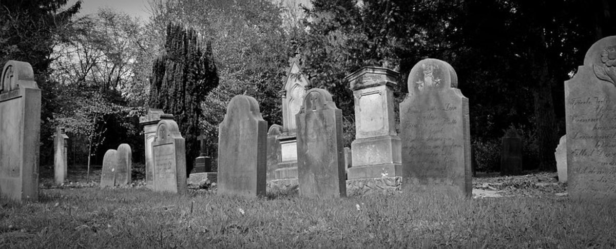Tombstones in an old cemetery