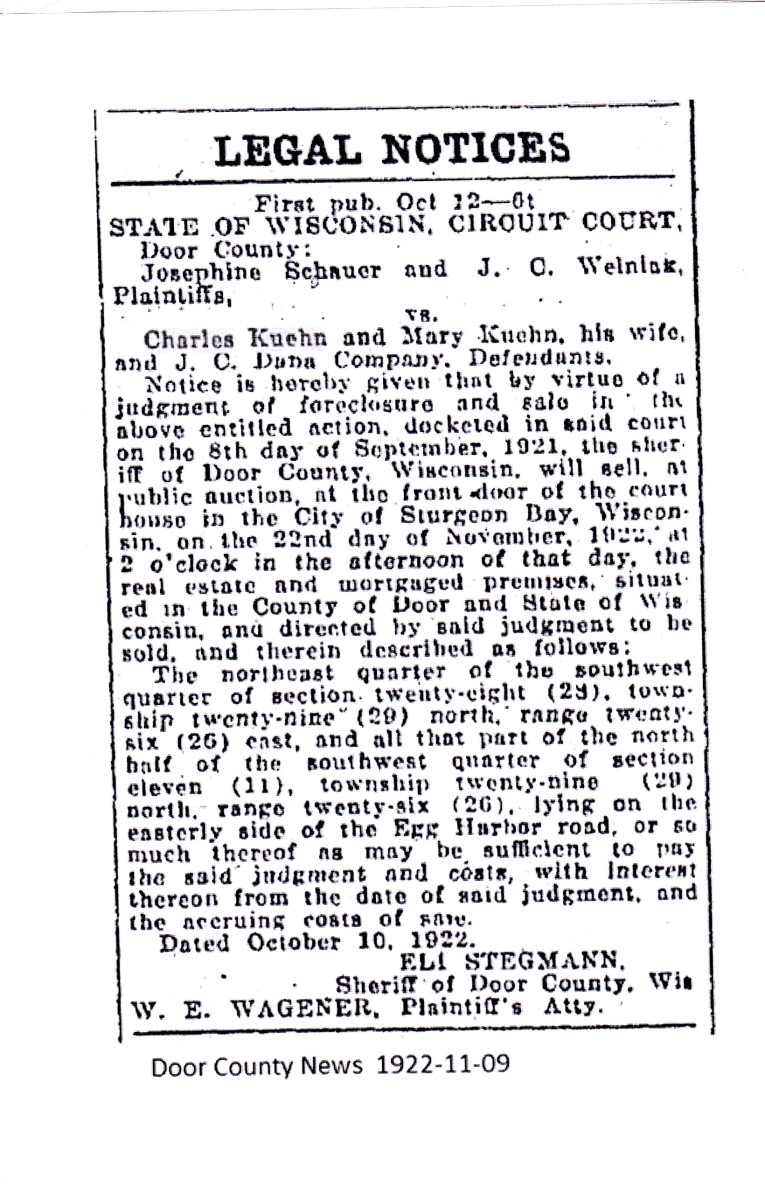 Foreclosure notice of grandpa's property in the Door County News 1922-11-09.