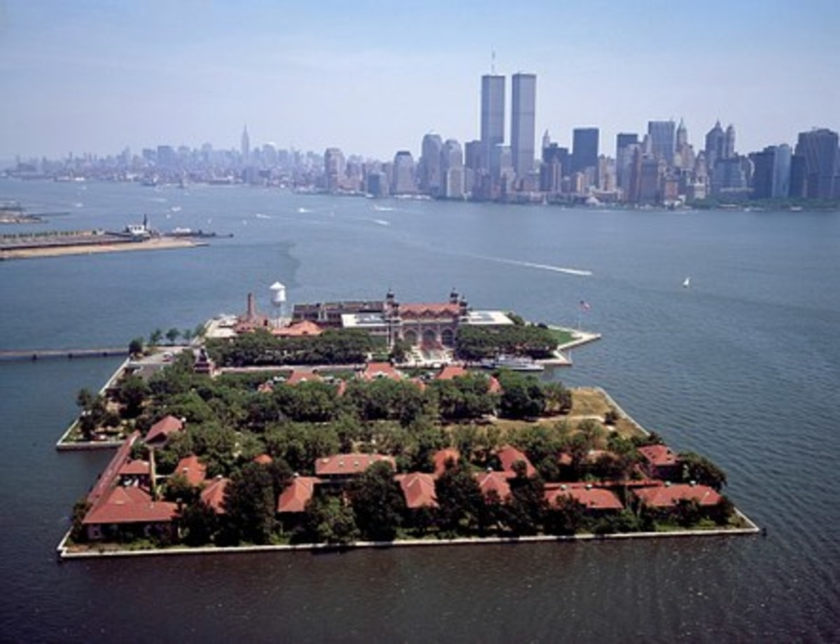 Ellis Island and the New York City skyline.