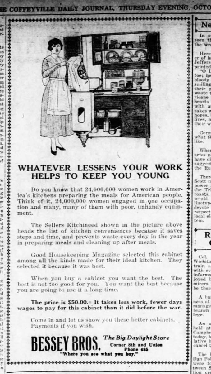 The Coffeyville Daily Journal  (Coffeyville, Kansas) 03 Oct 1918, Thu  • Page 3  - My grandmother married in 1918. I can picture her having a kitchen like this.