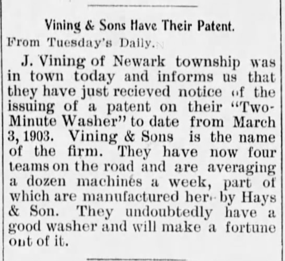 The Vinings develop a washing machine in 1903 and sell it widely. Wilson County Sun  (Neodesha, Kansas) 20 Feb 1903, Fri  • Page 4