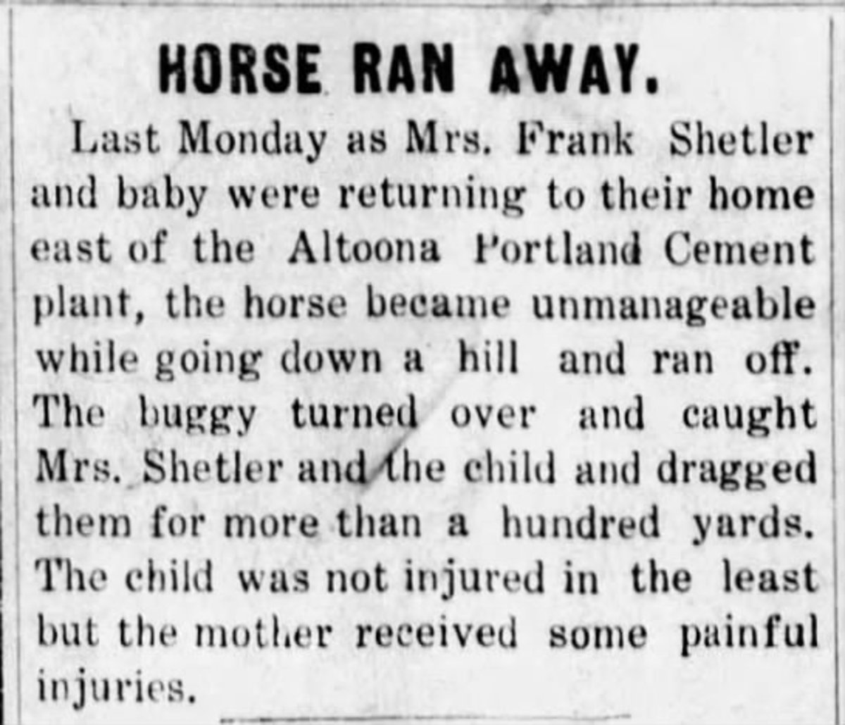 Story about a runaway horse ending in a buggy accident for a mother and child. Altoona Tribune  (Altoona, Kansas) 11 Aug 1910, Thu  • Page 1