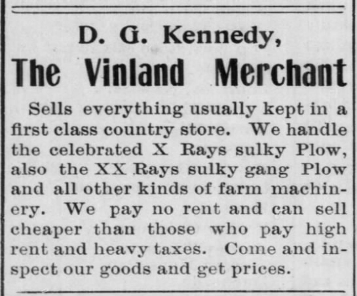 David Kennedy's store advertisement. From The Jeffersonian Gazette  (Lawrence, Kansas) 24 Oct 1901, Thu  • Page 8