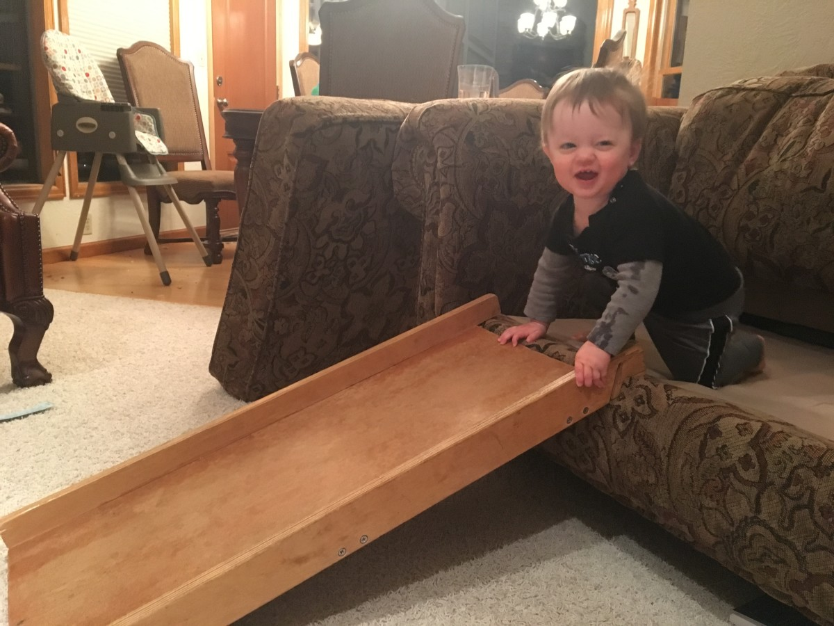 A slick piece of wood makes a great inside slide.