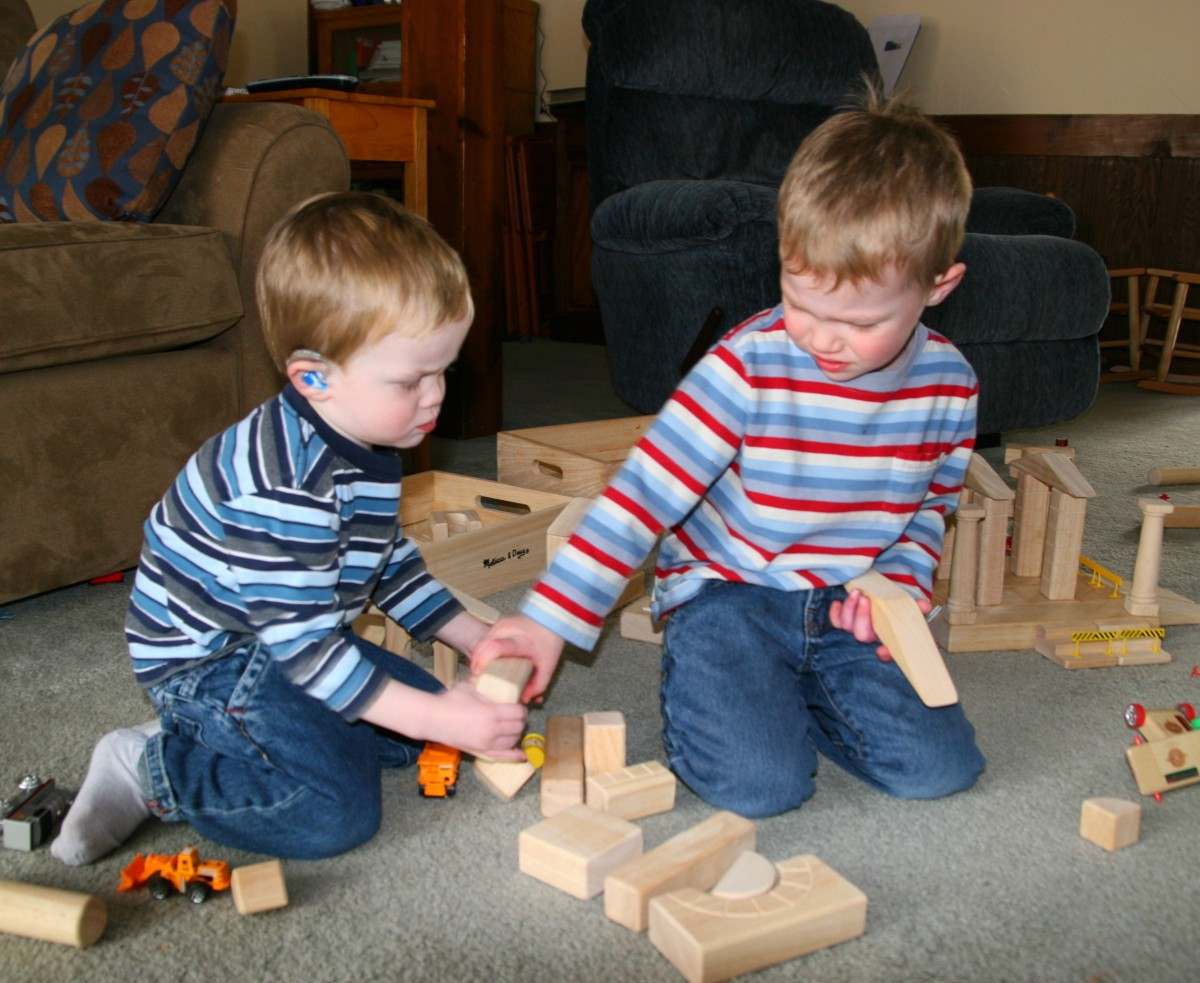 Blocks are one of the best language-building toys.