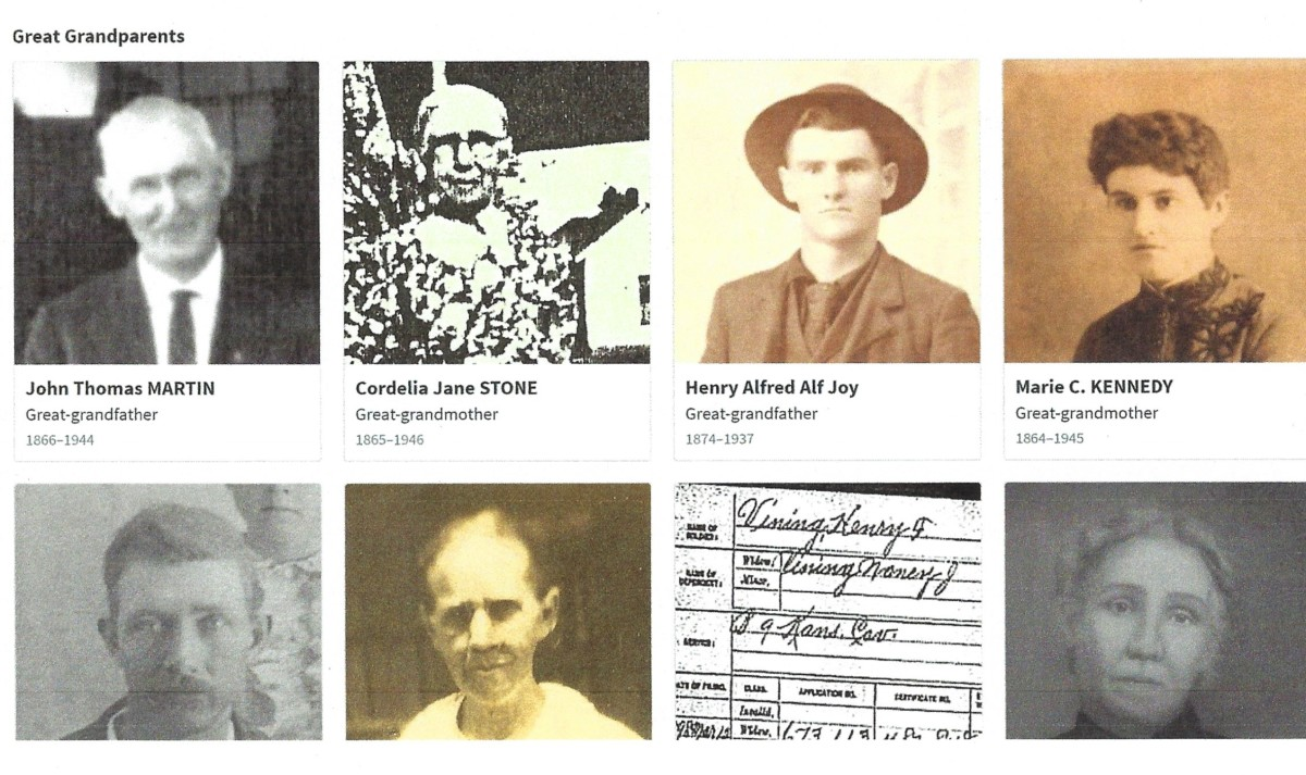 Choose one of the ancestors by clicking on their picture or name.