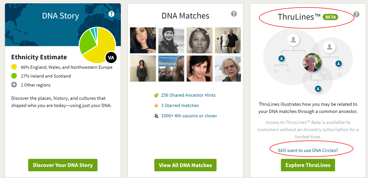 In the center, click on DNA Matches or go to the right-hand panel for seeing the ThruLines with your direct ancestors. You'll want to work both areas for the best results.