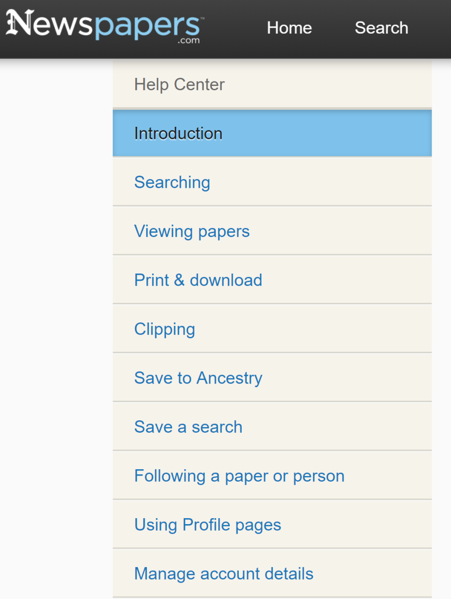 Browse the help section of Newspapers.com to pick up valuable search tips and to make full use of the database.