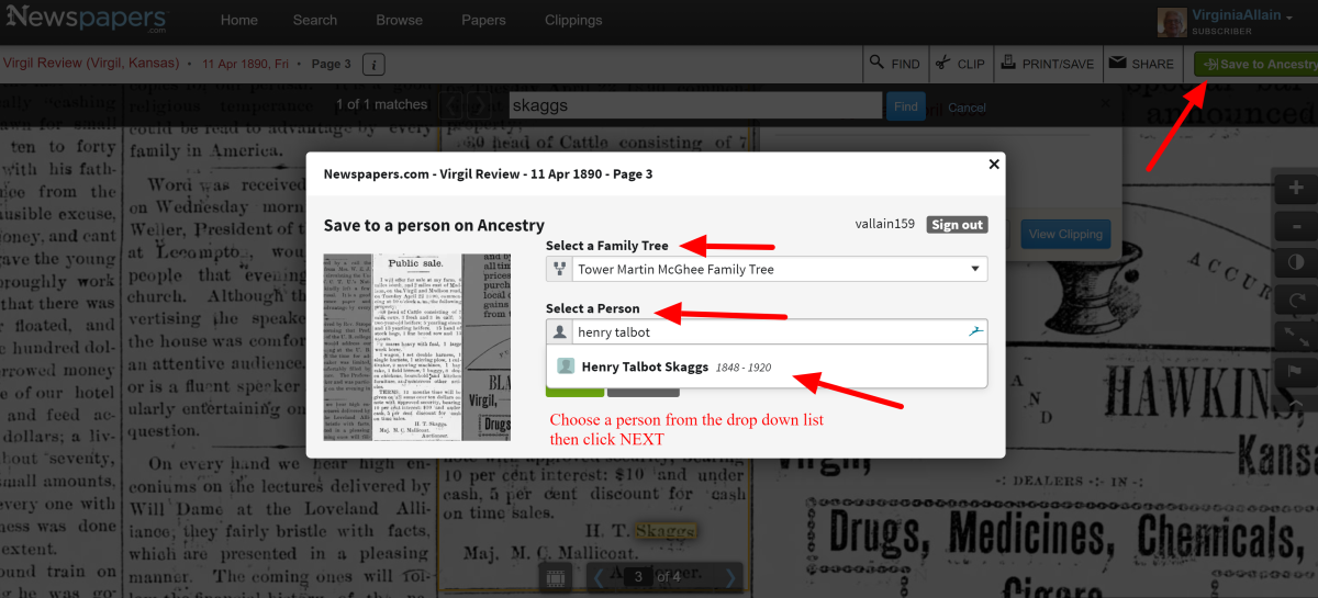 Put vital information in the title for storing the clipping. It makes it easier to find later. Select a person to attach the clipping to on Ancestry.com. Be careful if you have several people with similar names.