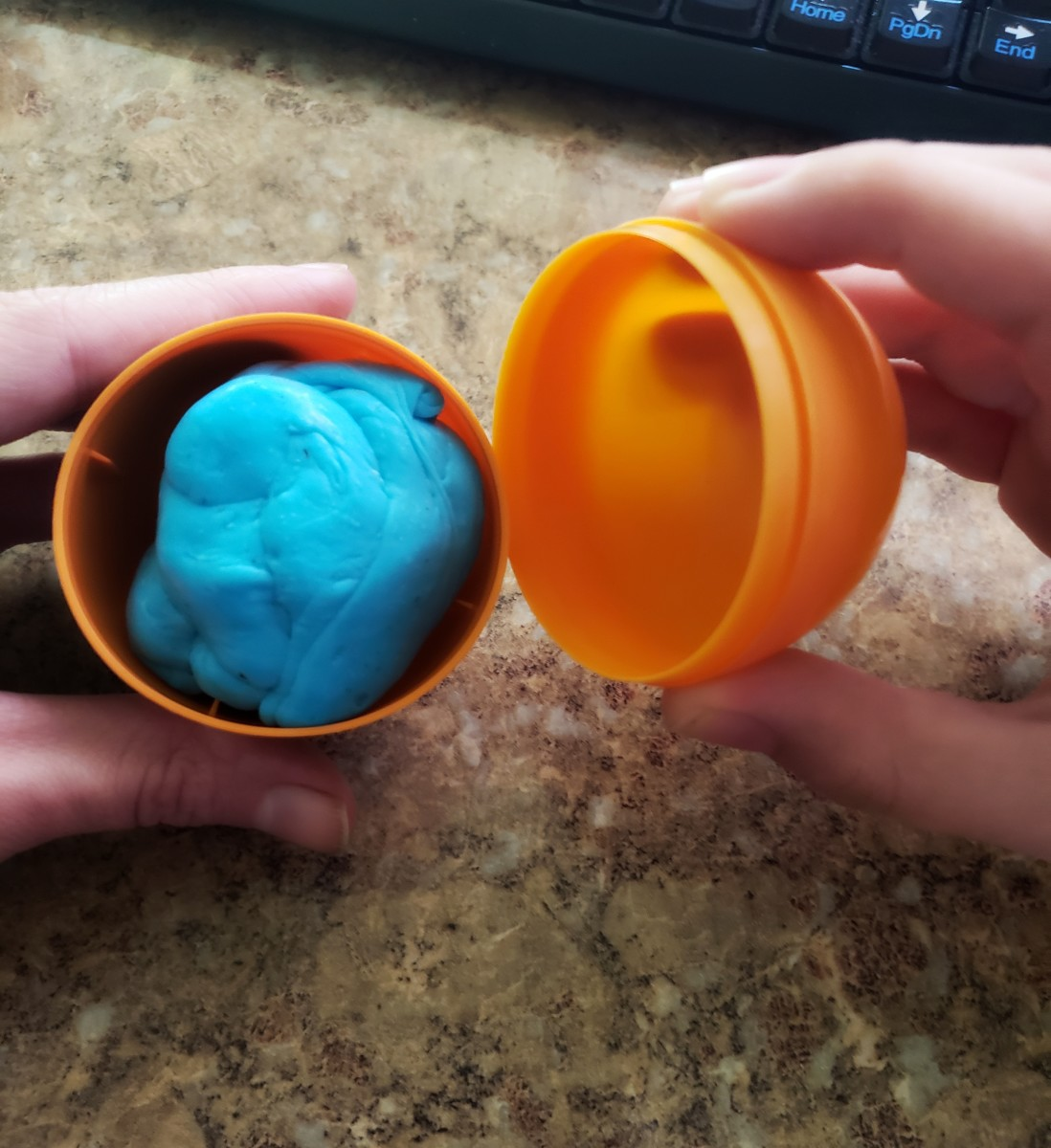 Keep your silly putty slime in a large Easter egg.