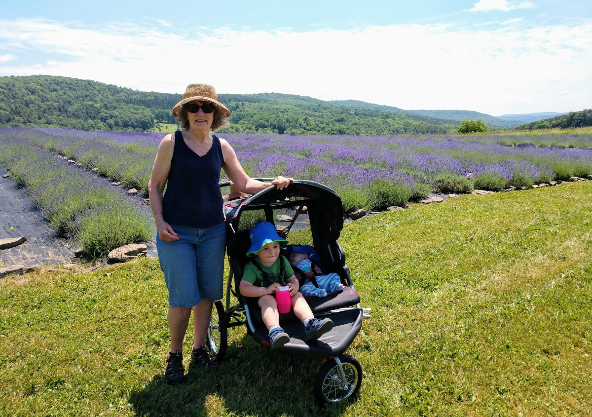 While the front/back seater double stroller is great for running errands, the side-by-side jogger stroller is better for more rugged adventures, like a walk with Grandma at the lavendar farm!
