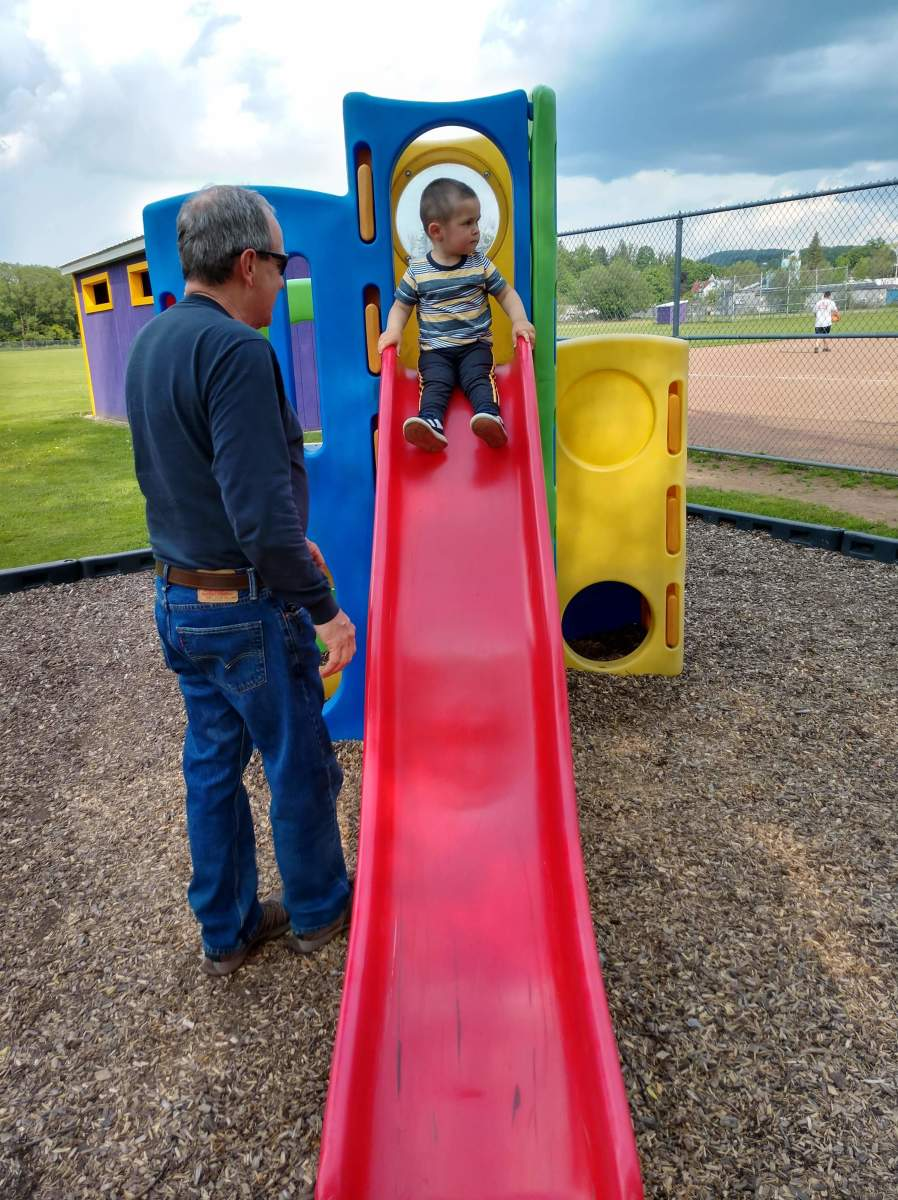 My dad was happy to take the toddler to the playground, while I took the baby to an appointment.