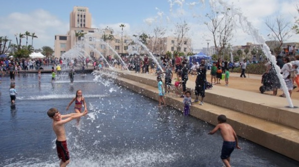 Our closest splash park, Waterfront Park in San Diego